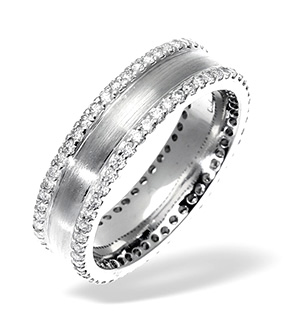 LADIES 18K WHITE GOLD DIAMOND WEDDING RING 0.70CT H/SI