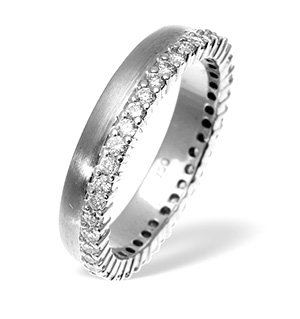 Emily High Set 18K White Gold Diamond Wedding Ring 1.20CT H/SI