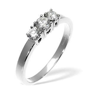 Ellie 18K White Gold 3 Stone Diamond Ring 1.50CT H/SI
