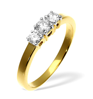 Ellie 18K Gold 3 Stone Diamond Ring 0.50CT H/SI