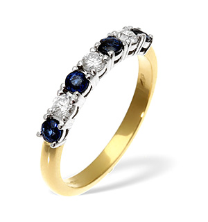18K Gold Diamond Blue Sapphire Ring 0.30ct