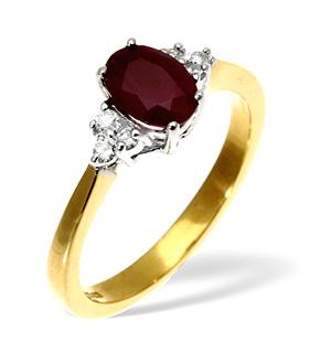 18K Gold Diamond Ruby Ring 0.12ct R 7x5 oval