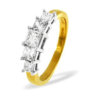 Lucy 18K Gold 5 Stone Princess Diamond Eternity Ring 0.75CT H/SI