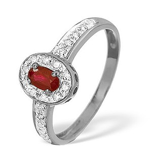 9K White Gold Diamond and Ruby Ring 0.11ct