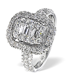 18K White Gold Diamond Ring 1.19ct