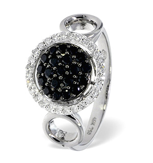 18K White Gold Diamond Black Diamond Ring 0.17ct