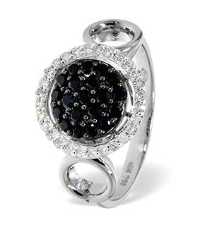 18K White Gold Diamond Black Diamond Ring 0.17ct
