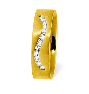 Leah Swirl 18K Gold Diamond Wedding Ring 0.20CT H/SI