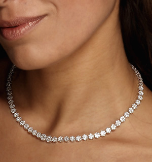 18KW DIAMOND CLUSTER NECKLACE 5.00CT G/VS