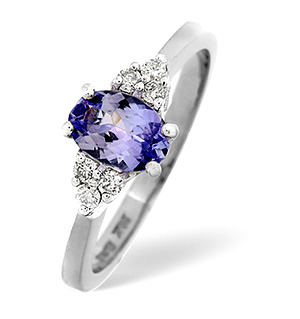 18K White Gold Diamond Tanzanite Ring 0.12ct