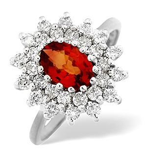 18K White Gold Diamond Orange Sapphire Ring 0.56ct