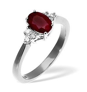 18K White Gold Diamond Ruby Ring 0.12ct R 7x5ov