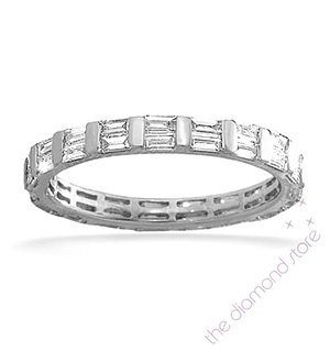 JESSICA 18K White Gold DIAMOND FULL ETERNITY RING 1.00CT H/SI
