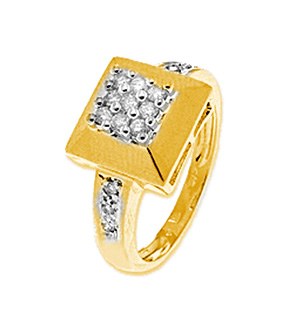 9K Gold Diamond Square Ring (0.25ct)