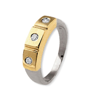18K Gold 3 Stone Ladies Diamond Ring 0.15ct
