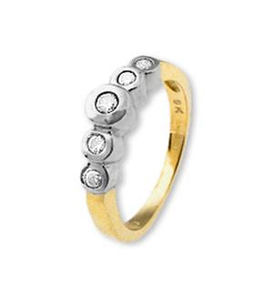 18K Gold 5 Stone Ladies Diamond Ring 0.20ct