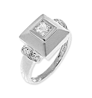 9K White Gold Diamond Square Ring