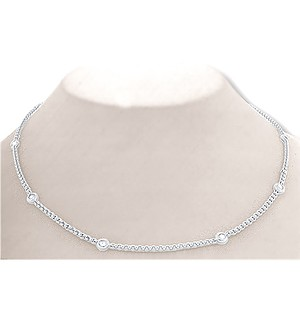 9K White Gold Diamond Rubover Necklace