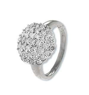 9K White Gold Diamond Cluster Ladies Ring (0.80ct)