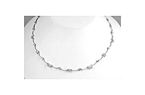 9K White Gold Diamond Moon and Stars Necklace