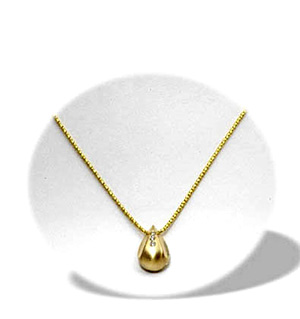9K Gold Three Stone Teardrop Diamond Necklace (0.06ct)