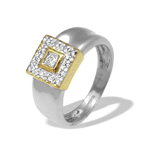 9K White Gold Square Design Diamond Ring