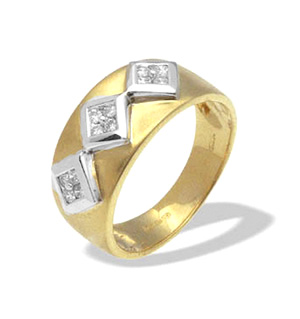 9K Gold Diamond Design Ring (0.18ct)