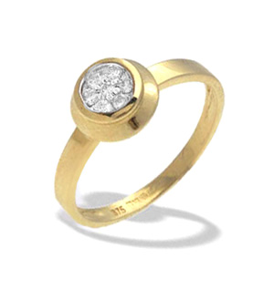 9K Gold Diamond Rubover Ring (0.15ct)