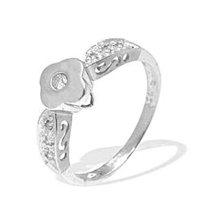9K White Gold Diamond Flower Design Ring (0.10ct)