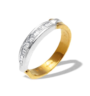 9K Two Tone Diamond Channel Set Baguette Ring (0.25ct)