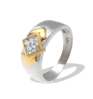 9K White Gold Diamond Ring with Gold Detail (0.22ct)
