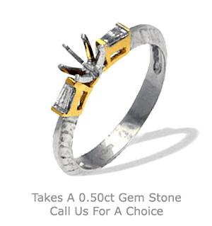 18K Ring Two Tone Diamond Set Pattern Shank (0.14ct)