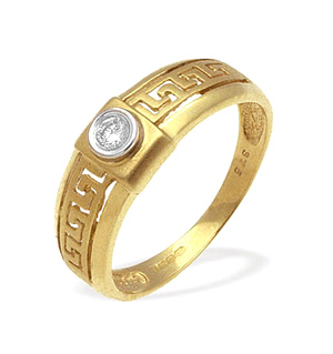 9K Gold Diamond Rubover Design Ring (0.06ct)