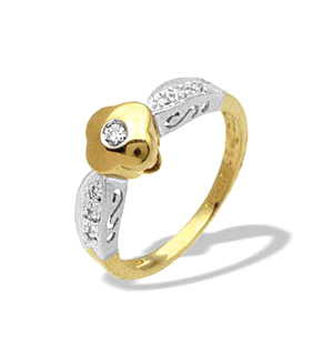 9K Two Tone Diamond Design Ring (0.10ct)