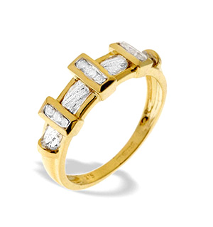 9K Gold Diamond Bar Detail Ring