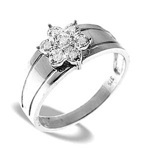9K White Gold Diamond Cluster Ring (0.07CT)