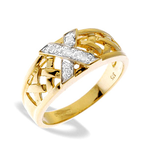 9K Gold Diamond Detail Weave Ring (0.06ct)