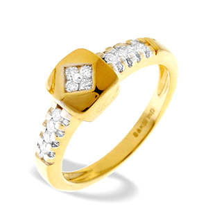 9K Gold Diamond Design Ring (0.24ct)