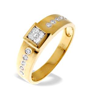 9K Gold Diamond Design Ring