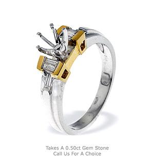 18K Ring Two Tone Diamond set Gold Shank (0.23ct)