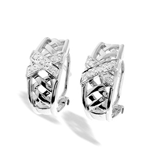 9K White Gold Diamond Weave Crossover Earrings(0.10ct)