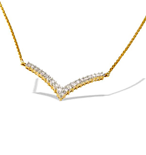 9K Gold Diamond Wishbone Necklace (0.50CT)