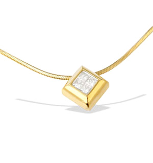 9K Gold Princess Diamond Slider Necklace (0.25CT)
