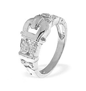 9K White Gold Horseshoe Ring (0.09ct)