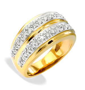 9K Gold Two Row Diamond Ring