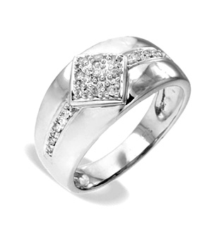 9K White Gold Diamond Ring (0.12ct)