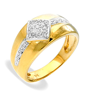 9K Gold Diamond Ring (0.12ct)
