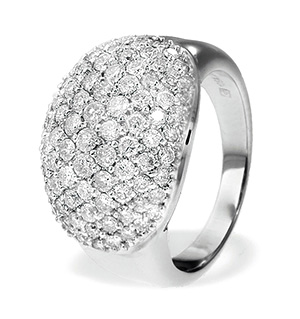18K White Gold Pave Diamond Ladies Ring (1.60ct)