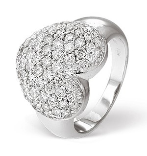18K White Gold Pave Diamond Heart Ladies Ring