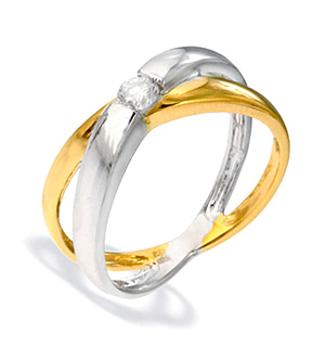9K Two Tone Diamond Set Ring